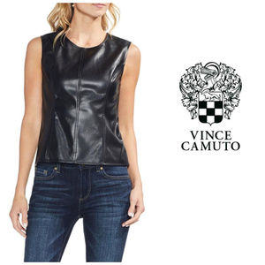 Vince Camuto Black Faux Leather Top Sz L NWT
